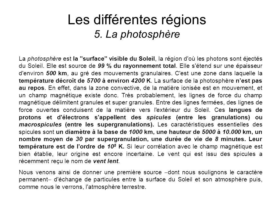 Les différentes régions 5. La photosphère La photosphère est la ''surface'' visible du Soleil, la région d'où les photons sont éjectés du Soleil. Elle