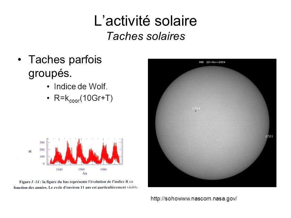 Lactivité solaire Taches solaires Taches parfois groupés. Indice de Wolf. R=k coor (10Gr+T) http://sohowww.nascom.nasa.gov/