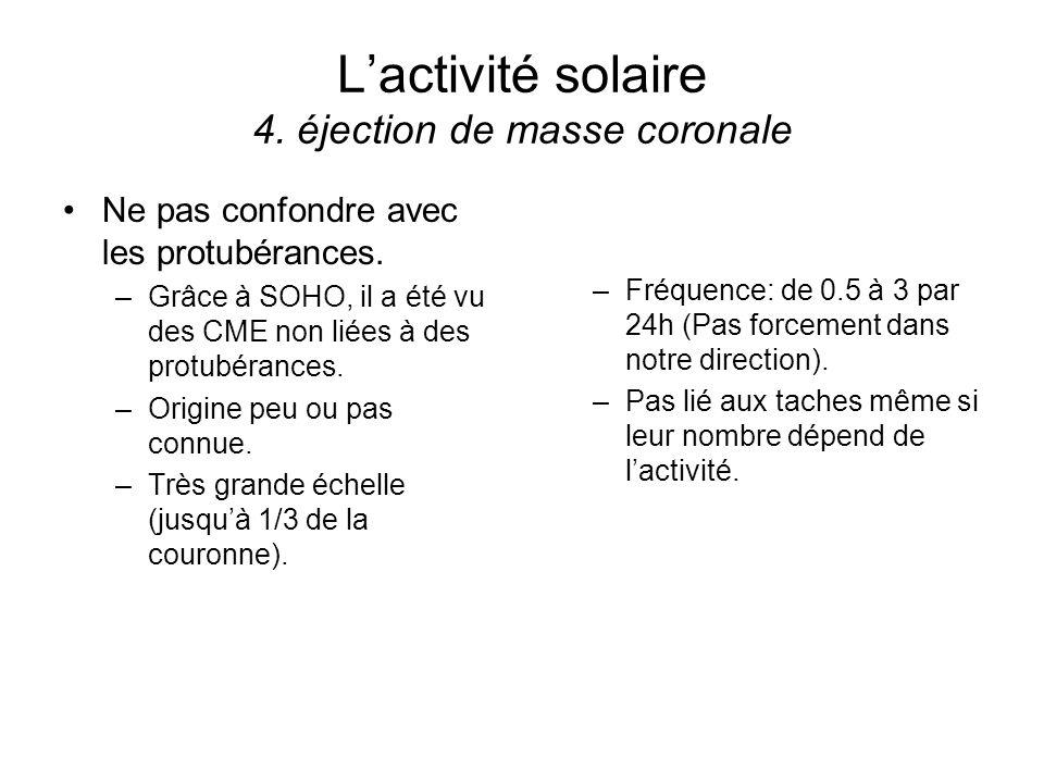 Lactivité solaire 4. éjection de masse coronale Ne pas confondre avec les protubérances. –Grâce à SOHO, il a été vu des CME non liées à des protubéran