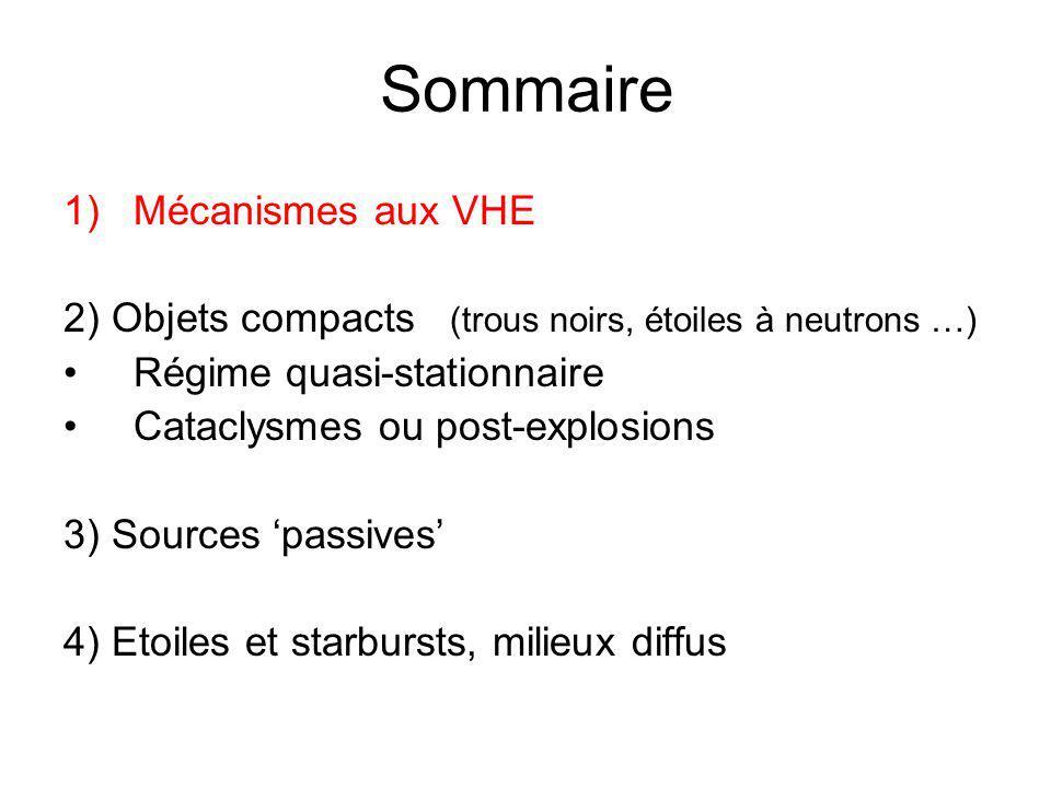 Sommaire 1)Mécanismes aux VHE 2) Objets compacts (trous noirs, étoiles à neutrons …) Régime quasi-stationnaire Cataclysmes ou post-explosions 3) Sources passives 4) Etoiles et starbursts, milieux diffus
