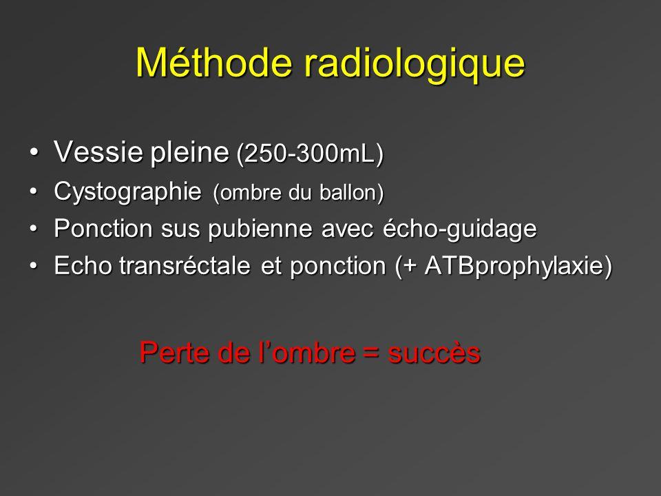 Méthode radiologique Vessie pleine (250-300mL)Vessie pleine (250-300mL) Cystographie (ombre du ballon)Cystographie (ombre du ballon) Ponction sus pubienne avec écho-guidagePonction sus pubienne avec écho-guidage Echo transréctale et ponction (+ ATBprophylaxie)Echo transréctale et ponction (+ ATBprophylaxie) Perte de lombre = succès