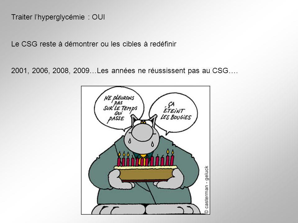 Traiter lhyperglycémie : OUI Le CSG reste à démontrer ou les cibles à redéfinir 2001, 2006, 2008, 2009…Les années ne réussissent pas au CSG….