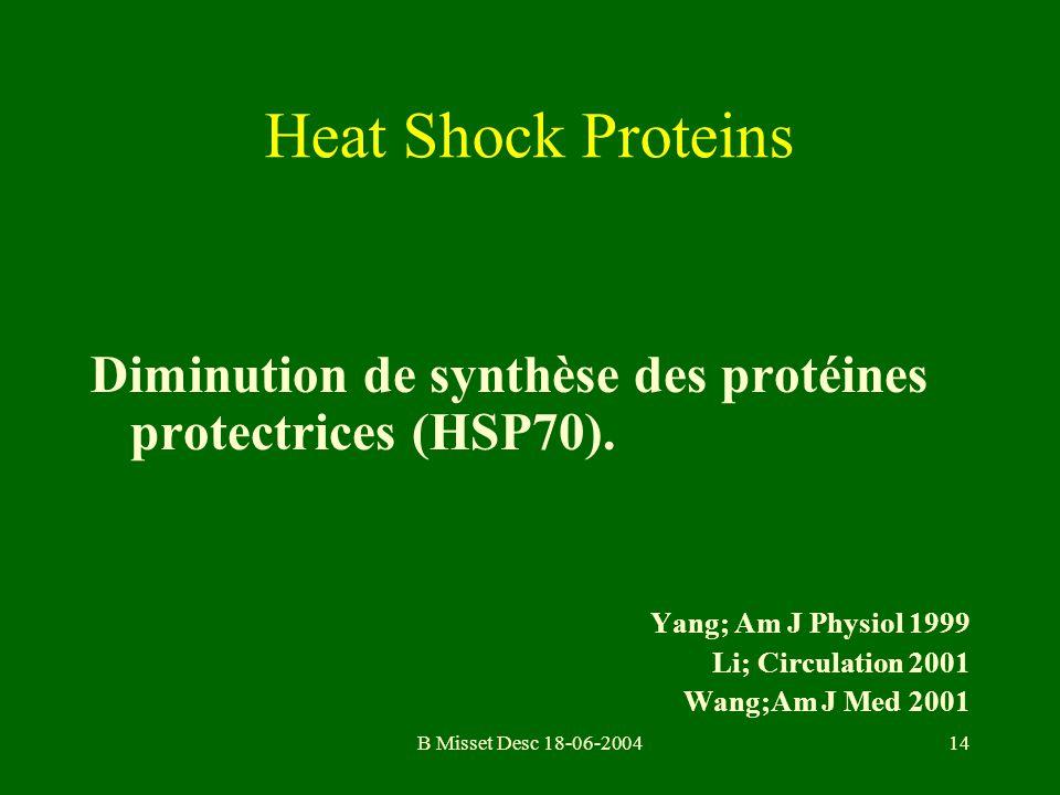 B Misset Desc 18-06-200414 Diminution de synthèse des protéines protectrices (HSP70). Yang; Am J Physiol 1999 Li; Circulation 2001 Wang;Am J Med 2001