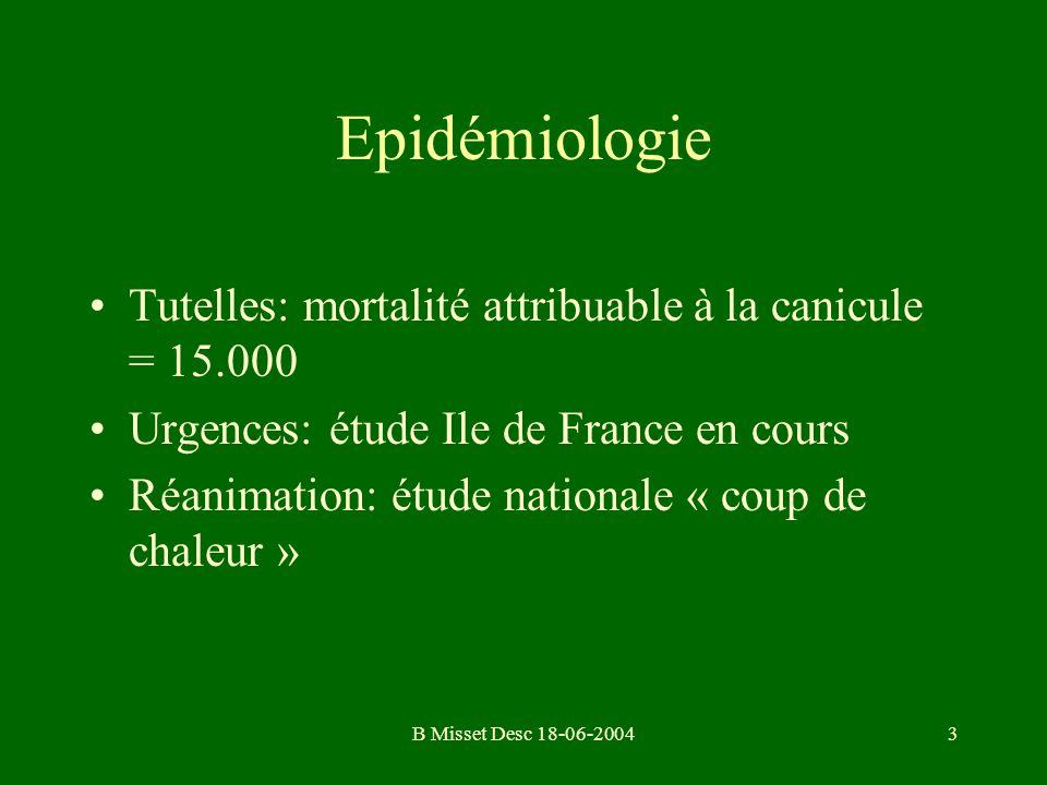 B Misset Desc 18-06-20043 Epidémiologie Tutelles: mortalité attribuable à la canicule = 15.000 Urgences: étude Ile de France en cours Réanimation: étu