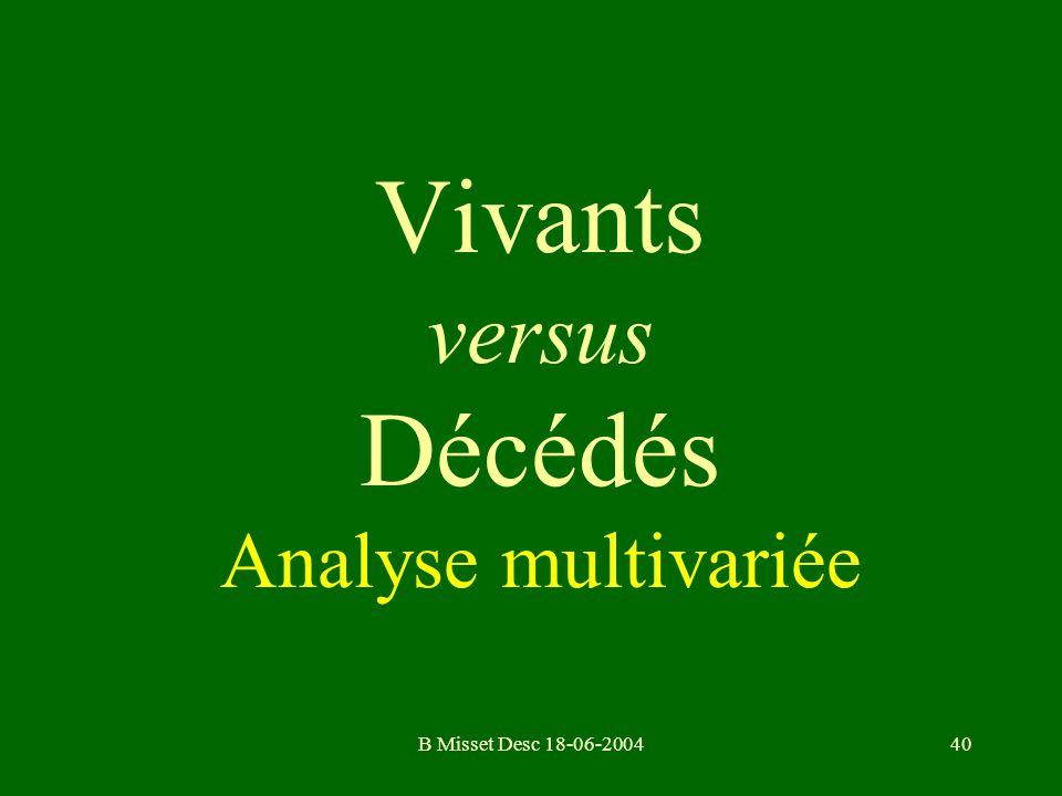 B Misset Desc 18-06-200440 Vivants versus Décédés Analyse multivariée