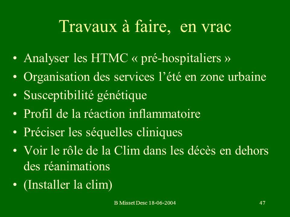B Misset Desc 18-06-200447 Travaux à faire, en vrac Analyser les HTMC « pré-hospitaliers » Organisation des services lété en zone urbaine Susceptibili