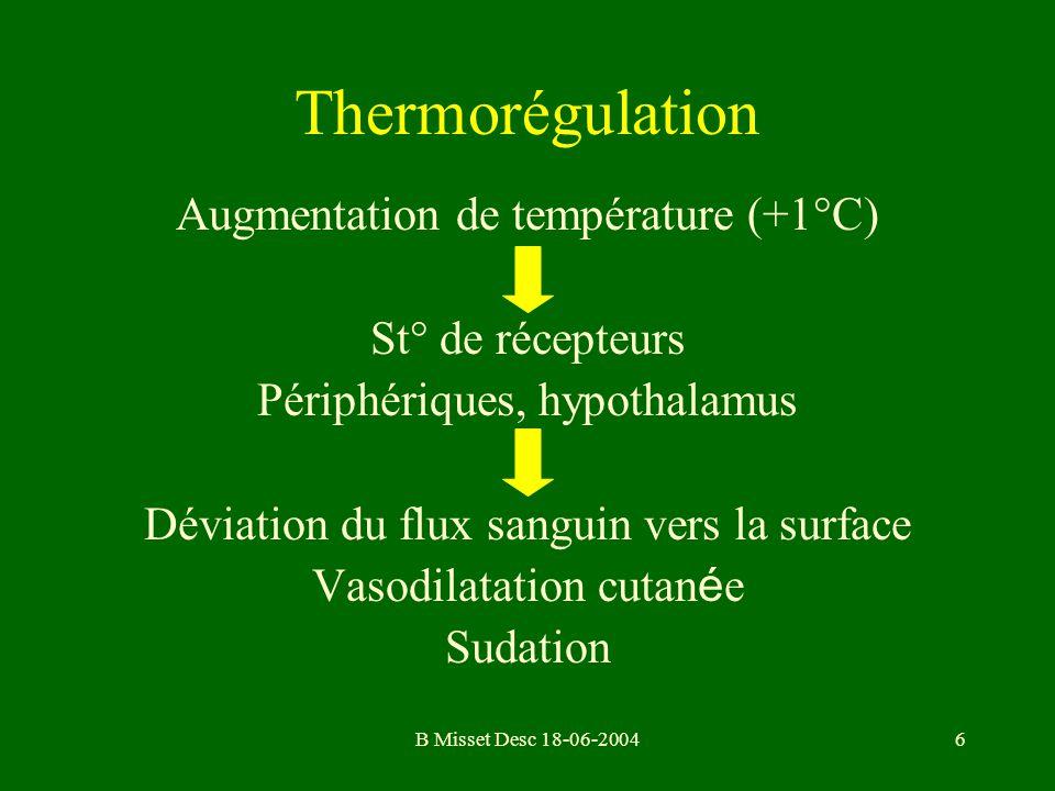 B Misset Desc 18-06-20046 Thermorégulation Augmentation de température (+1°C) St° de récepteurs Périphériques, hypothalamus Déviation du flux sanguin