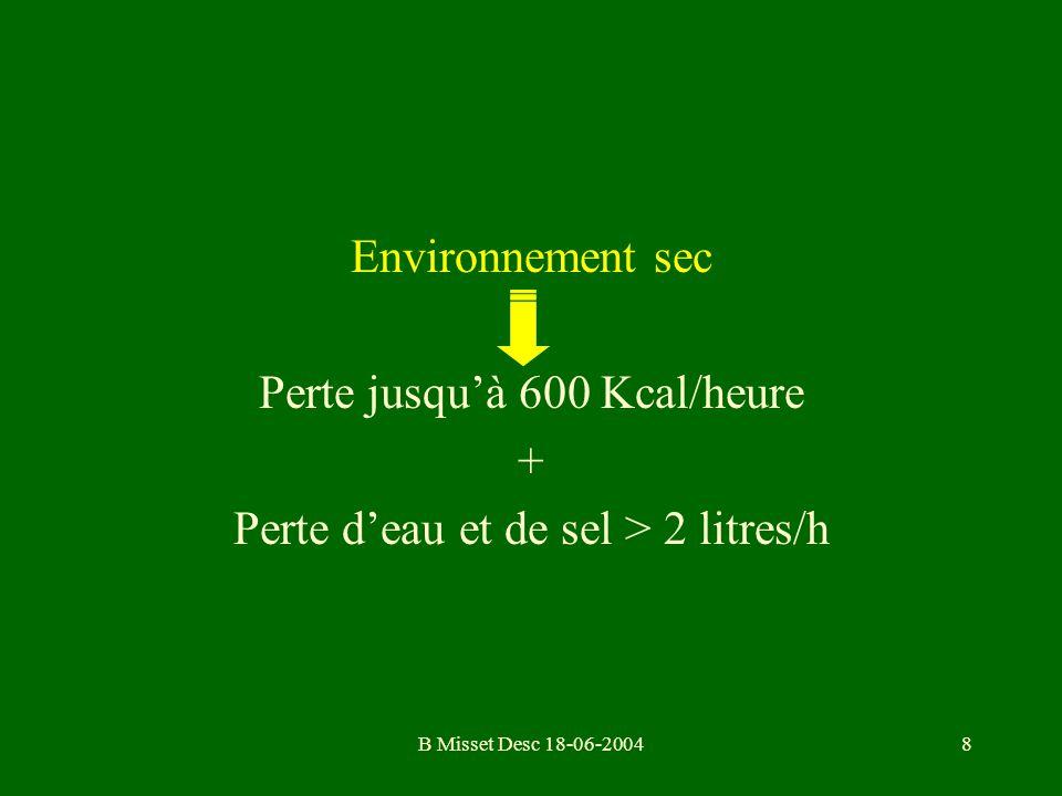 B Misset Desc 18-06-20048 Environnement sec Perte jusquà 600 Kcal/heure + Perte deau et de sel > 2 litres/h