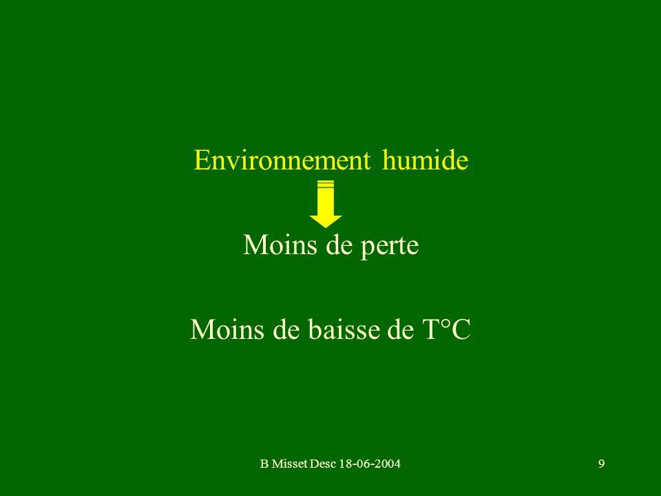 B Misset Desc 18-06-20049 Environnement humide Moins de perte Moins de baisse de T°C