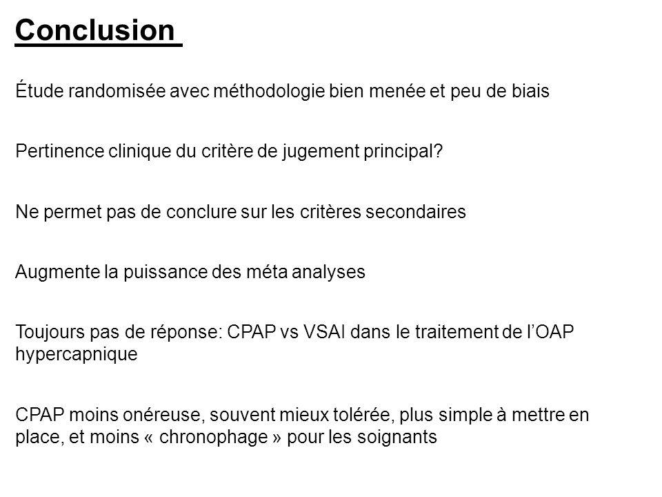 Conclusion Toujours pas de réponse: CPAP vs VSAI dans le traitement de lOAP hypercapnique Ne permet pas de conclure sur les critères secondaires Étude