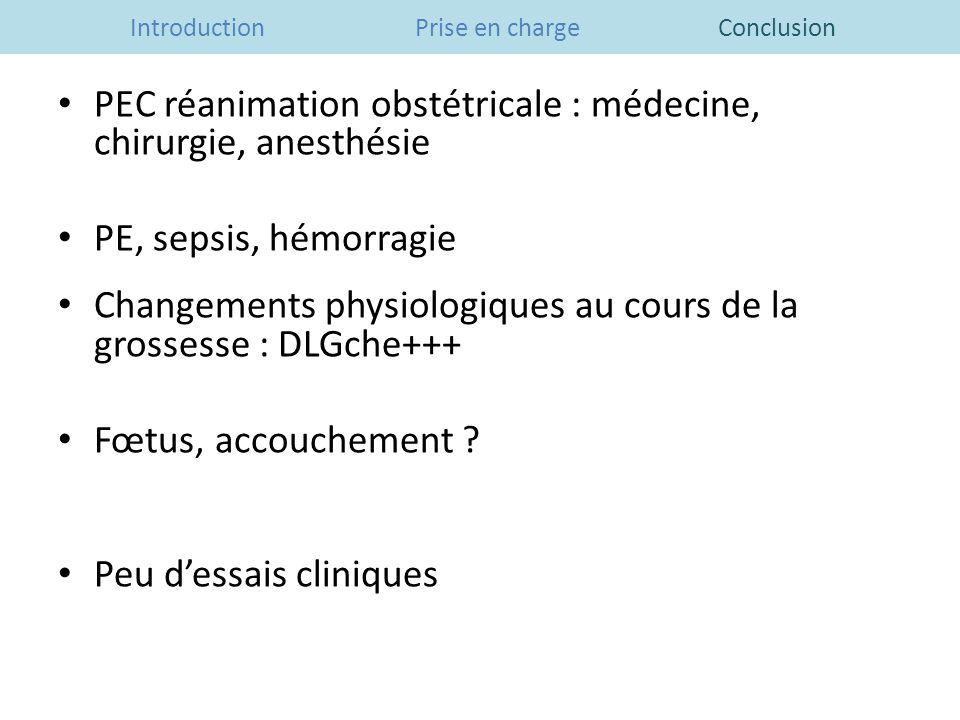 Introduction Prise en charge Conclusion PEC réanimation obstétricale : médecine, chirurgie, anesthésie PE, sepsis, hémorragie Changements physiologiqu