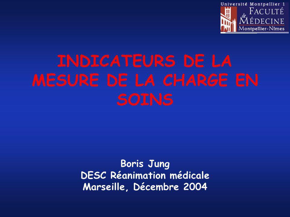 INDICATEURS DE LA MESURE DE LA CHARGE EN SOINS Boris Jung DESC Réanimation médicale Marseille, Décembre 2004