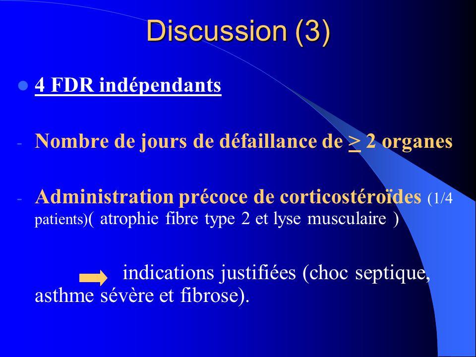 Discussion (3) 4 FDR indépendants - Nombre de jours de défaillance de > 2 organes - Administration précoce de corticostéroïdes (1/4 patients) ( atroph