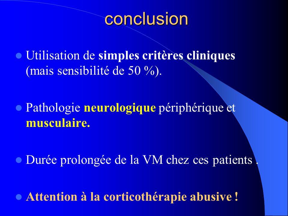 conclusion Utilisation de simples critères cliniques (mais sensibilité de 50 %). Pathologie neurologique périphérique et musculaire. Durée prolongée d