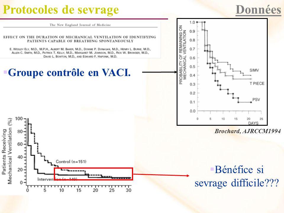 Protocoles de sevrageDonnées Groupe contrôle en VACI.