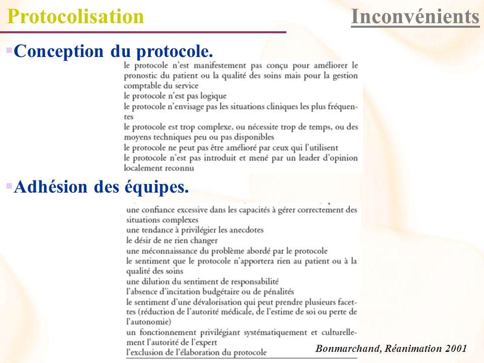 ProtocolisationInconvénients Conception du protocole.