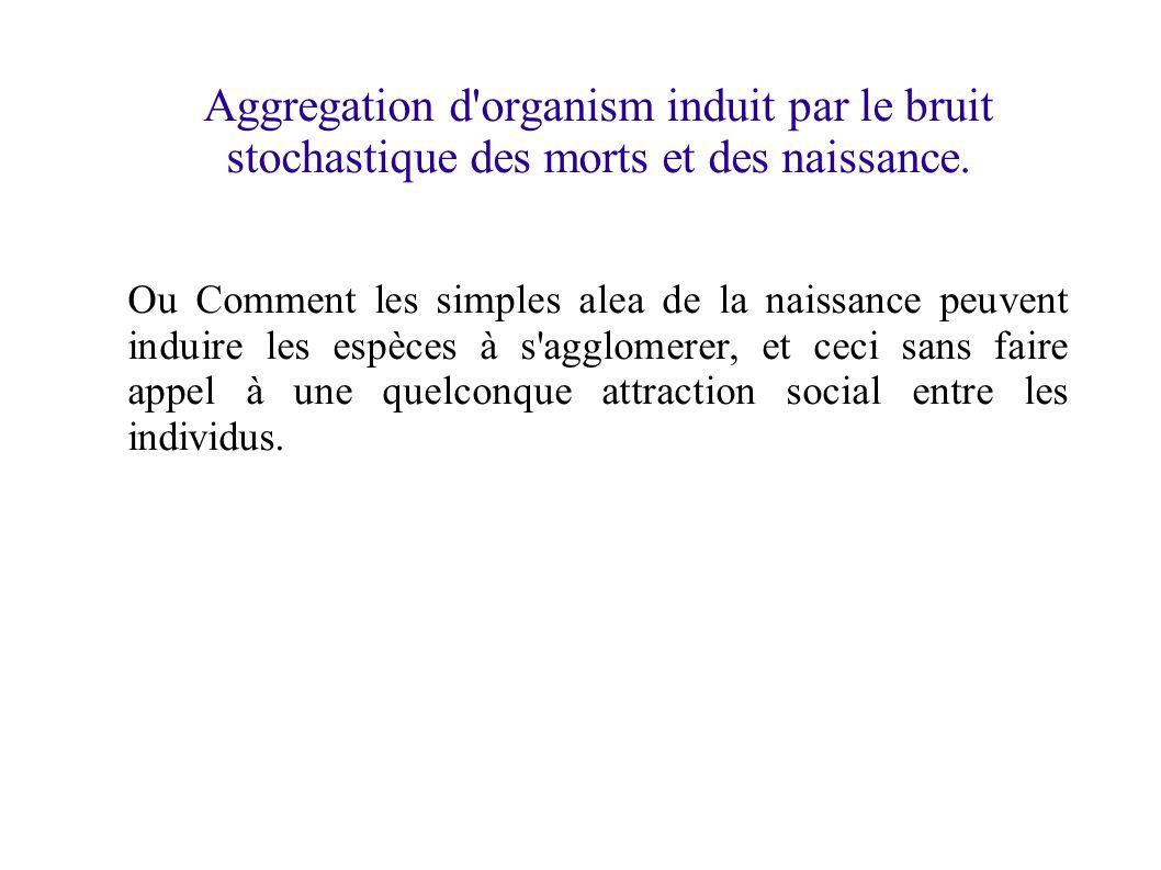 Aggregation d organism induit par le bruit stochastique des morts et des naissance.