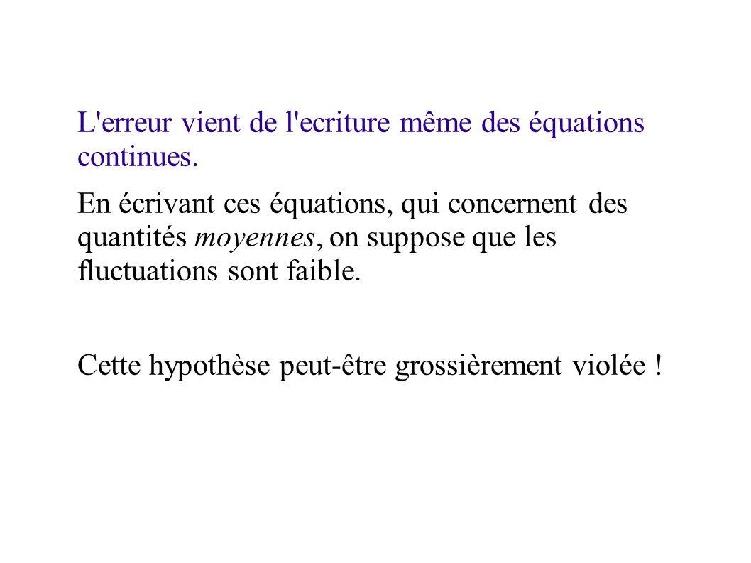 L erreur vient de l ecriture même des équations continues.