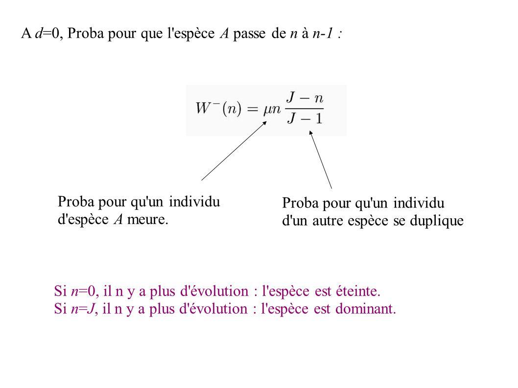 A d=0, Proba pour que l espèce A passe de n à n-1 : Proba pour qu un individu d un autre espèce se duplique Proba pour qu un individu d espèce A meure.