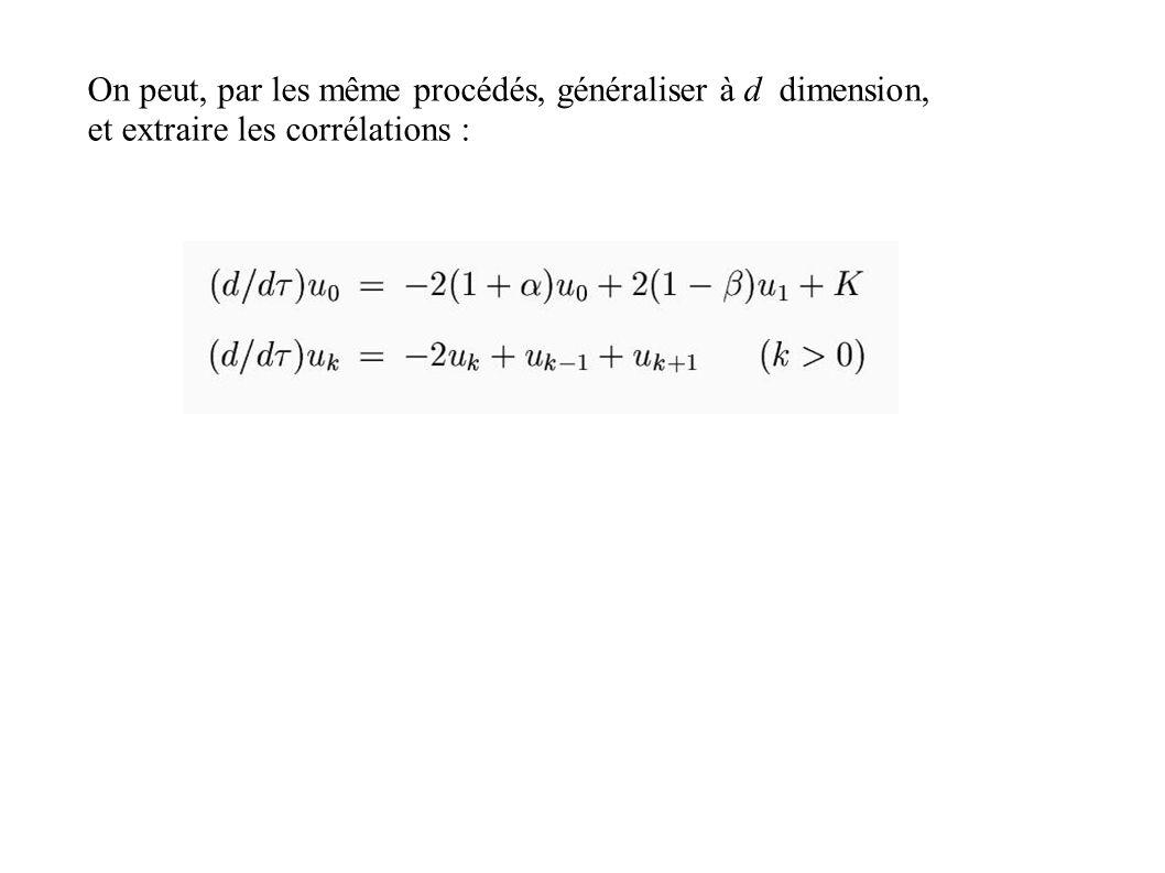 On peut, par les même procédés, généraliser à d dimension, et extraire les corrélations :