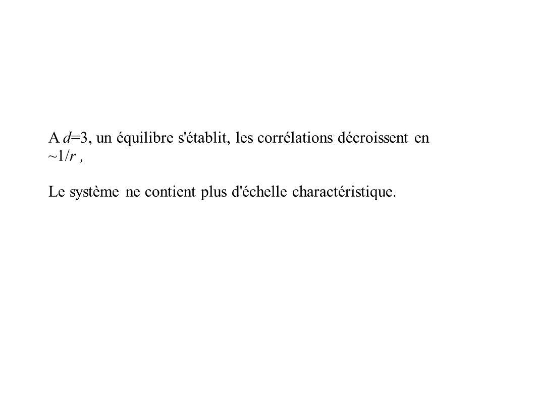 A d=3, un équilibre s établit, les corrélations décroissent en ~1/r, Le système ne contient plus d échelle charactéristique.