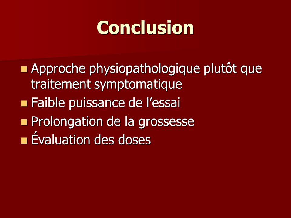 Conclusion Approche physiopathologique plutôt que traitement symptomatique Approche physiopathologique plutôt que traitement symptomatique Faible puis