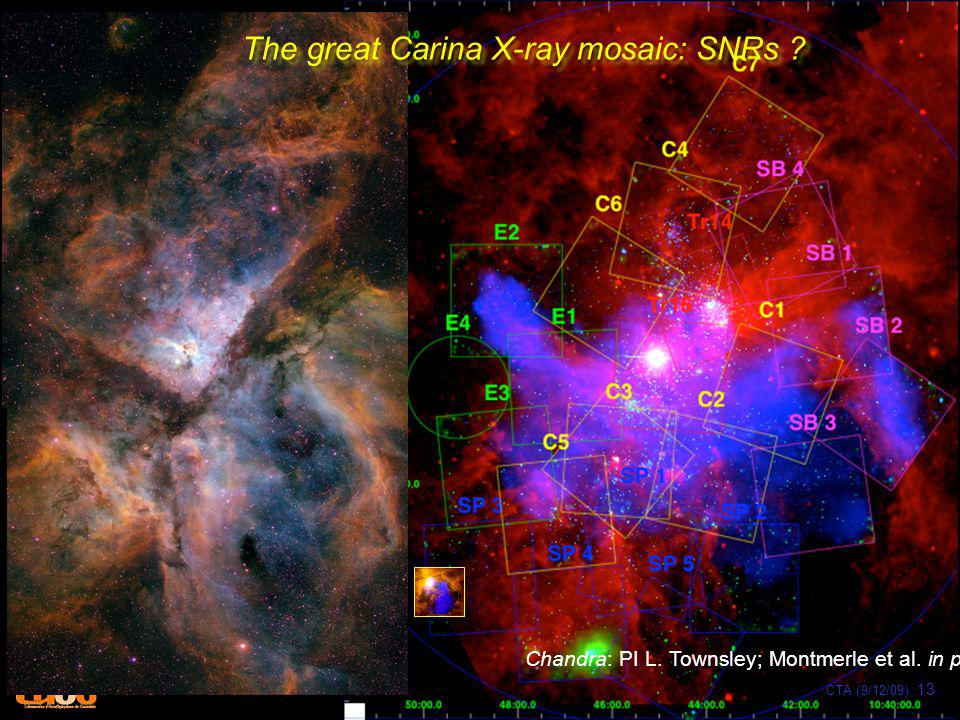 Chandra: PI L. Townsley; Montmerle et al. in prep. The great Carina X-ray mosaic: SNRs ? CTA (9/12/09) 13