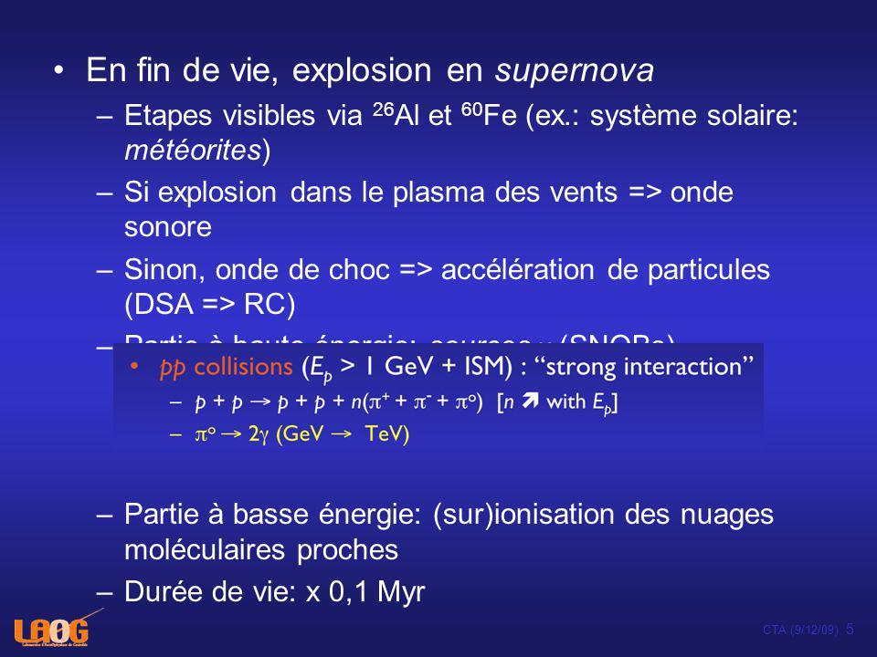 Stellar and disk lifetimes vs. supernovae Supernovae Disks CTA (9/12/09) 6