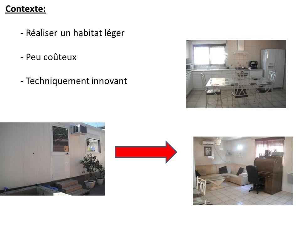 Contexte: - Réaliser un habitat léger - Peu coûteux - Techniquement innovant