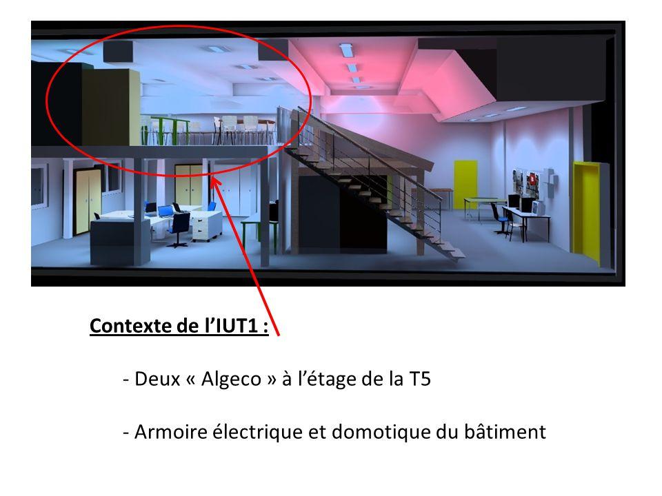 Contexte de lIUT1 : - Deux « Algeco » à létage de la T5 - Armoire électrique et domotique du bâtiment