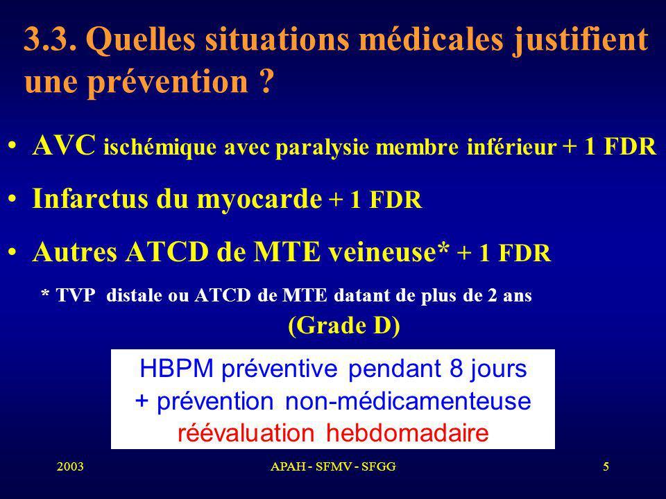 2003APAH - SFMV - SFGG6 4.Quelles situations infectieuses justifient une prévention .