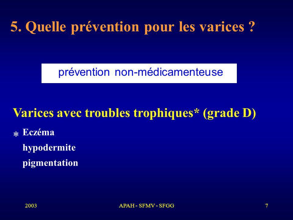 2003APAH - SFMV - SFGG7 5.Quelle prévention pour les varices .