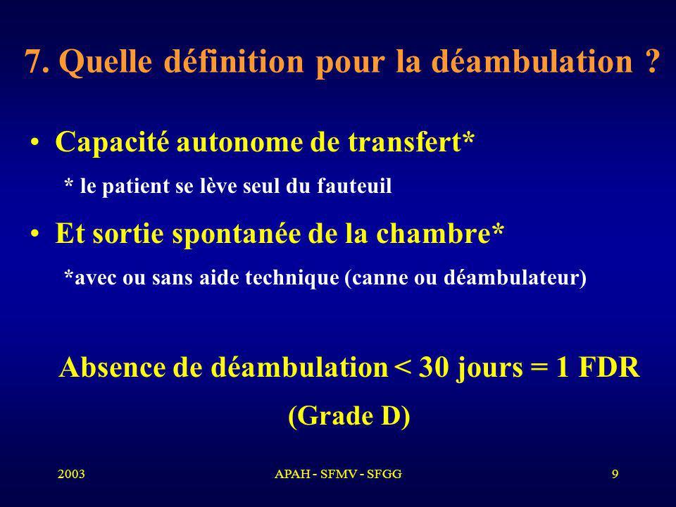 2003APAH - SFMV - SFGG9 7.Quelle définition pour la déambulation .
