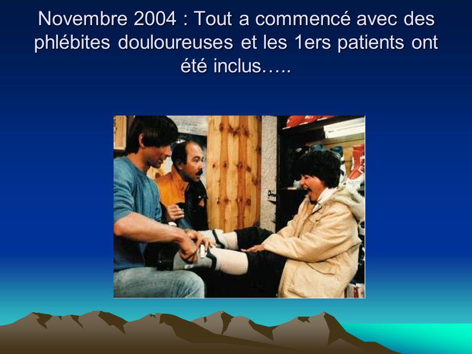 Novembre 2004 : Tout a commencé avec des phlébites douloureuses et les 1ers patients ont été inclus…..