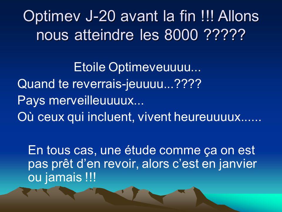 Optimev J-20 avant la fin !!! Allons nous atteindre les 8000 ????? Etoile Optimeveuuuu... Quand te reverrais-jeuuuu...???? Pays merveilleuuuux... Où c