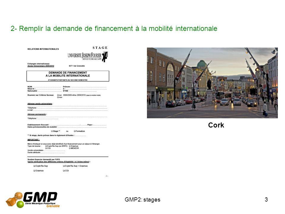 GMP2: stages3 2- Remplir la demande de financement à la mobilité internationale Cork