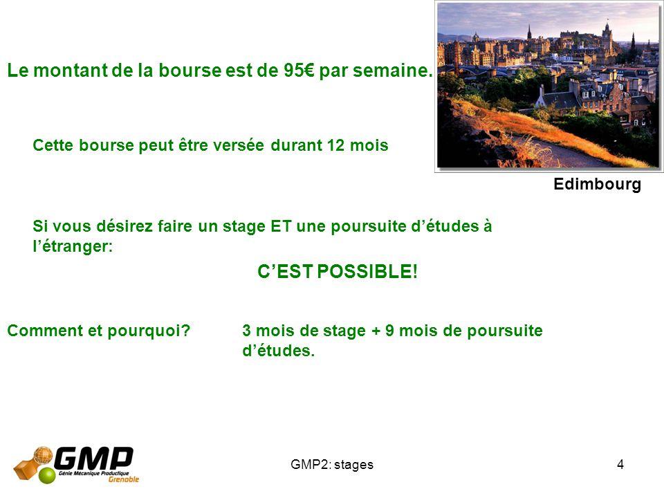 GMP2: stages4 Le montant de la bourse est de 95 par semaine. Cette bourse peut être versée durant 12 mois Si vous désirez faire un stage ET une poursu