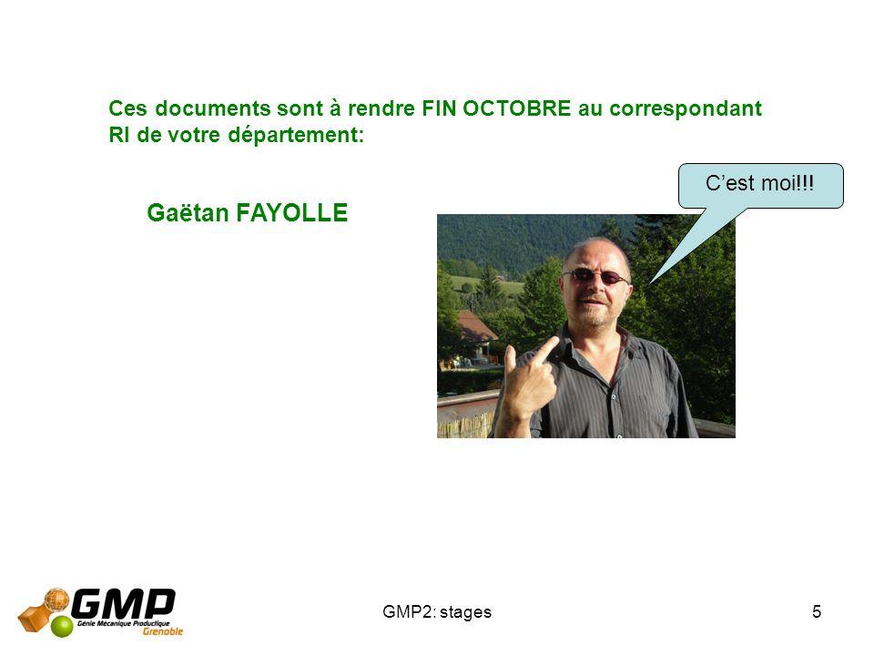 GMP2: stages5 Ces documents sont à rendre FIN OCTOBRE au correspondant RI de votre département: Gaëtan FAYOLLE Cest moi!!!