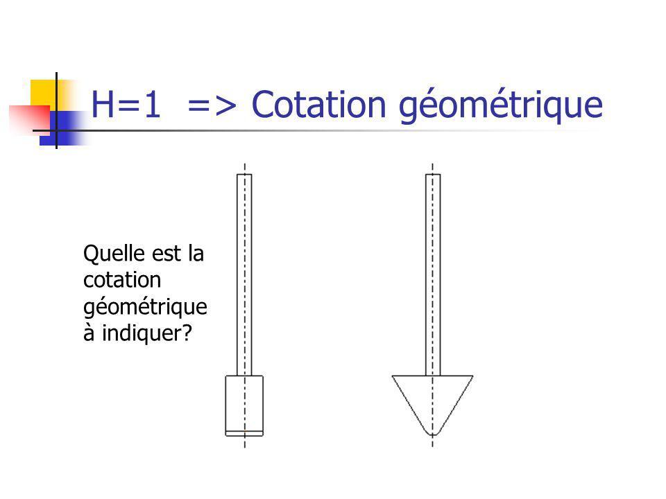 H=1 => Cotation géométrique Quelle est la cotation géométrique à indiquer?
