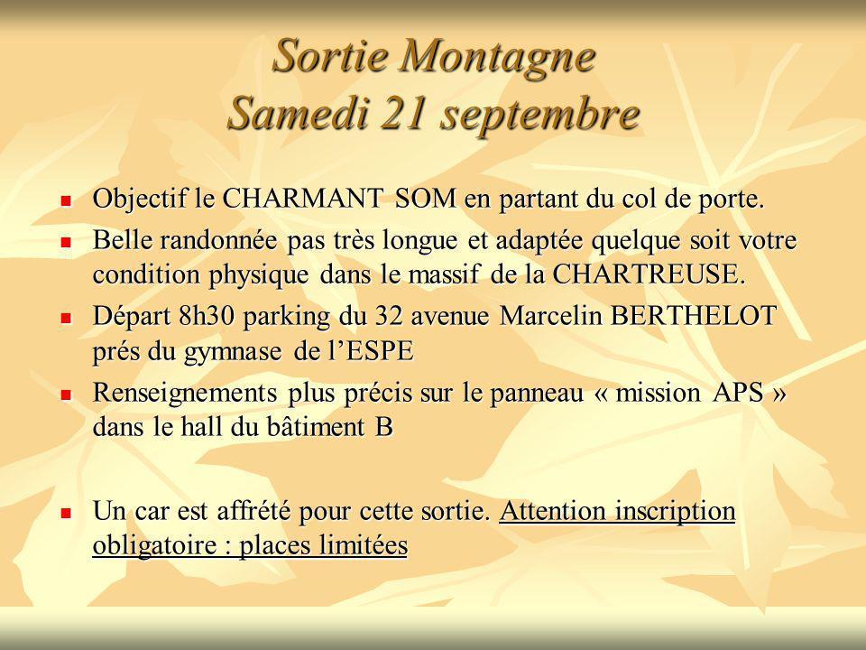 Sortie Montagne Samedi 21 septembre Objectif le CHARMANT SOM en partant du col de porte. Objectif le CHARMANT SOM en partant du col de porte. Belle ra