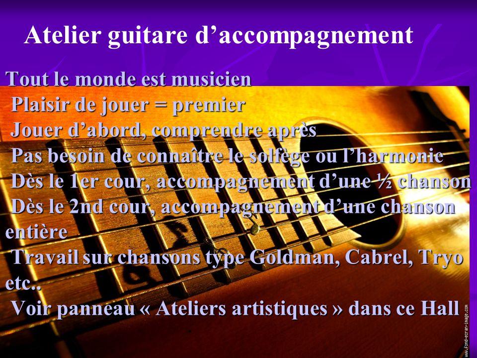 Tout le monde est musicien Plaisir de jouer = premier Jouer dabord, comprendre après Pas besoin de connaître le solfège ou lharmonie Dès le 1er cour,