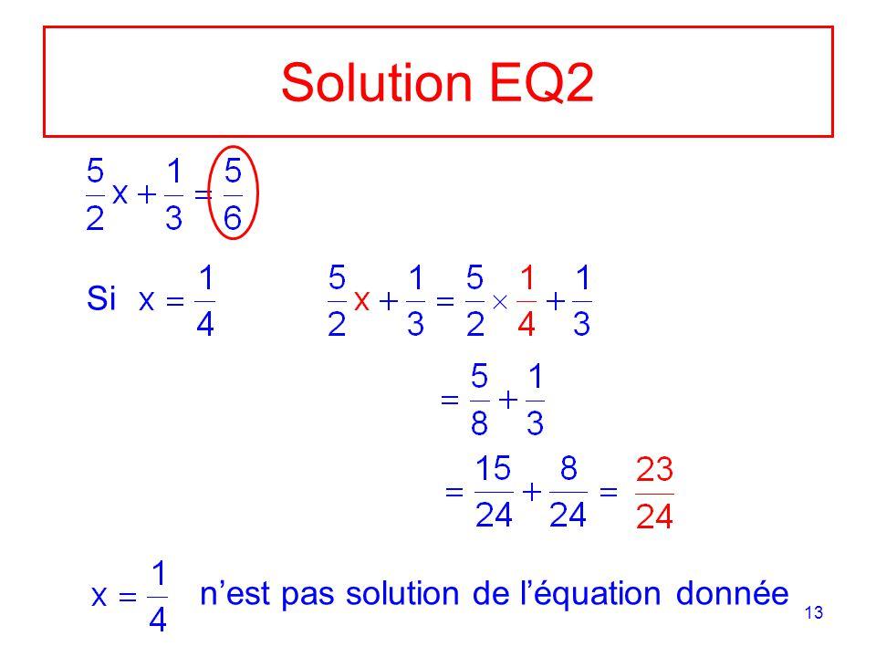 13 Solution EQ2 Si nest pas solution de léquation donnée