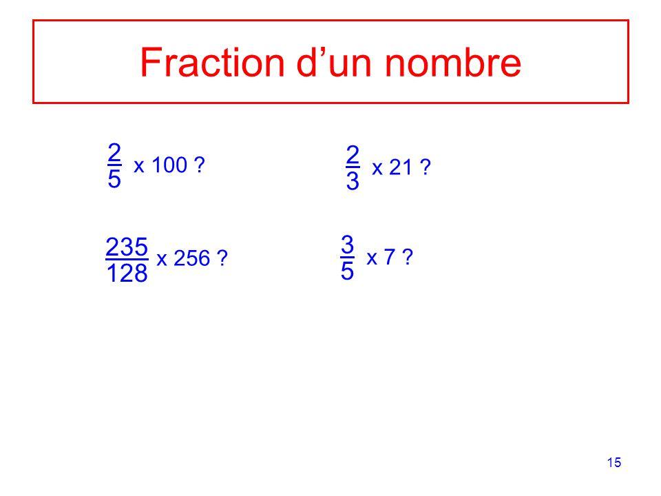 15 Fraction dun nombre 2 5 x 100 ? 235 128 x 256 ? 2 3 x 21 ? 3 5 x 7 ?