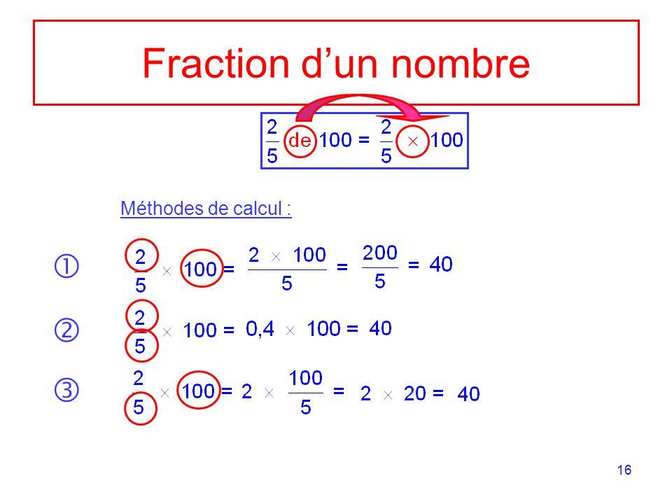 16 Fraction dun nombre Méthodes de calcul :