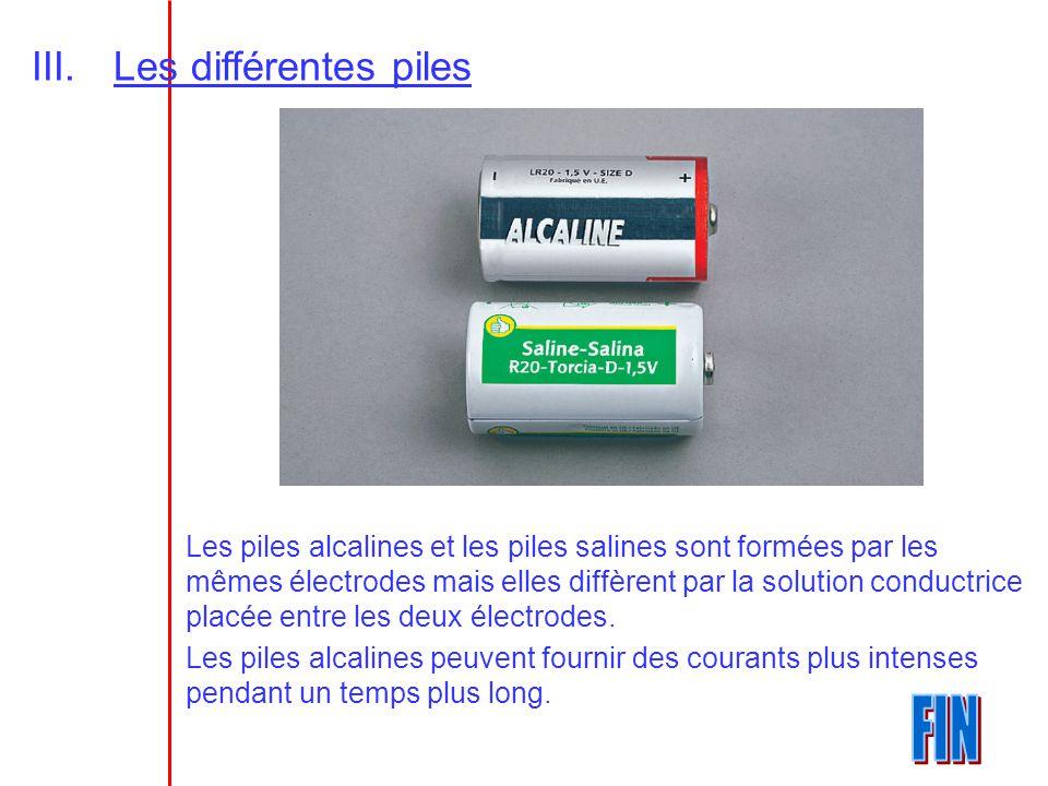 III.Les différentes piles Les piles alcalines et les piles salines sont formées par les mêmes électrodes mais elles diffèrent par la solution conductr