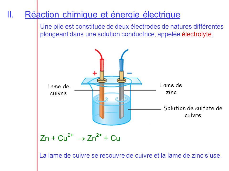 II.Réaction chimique et énergie électrique Une pile est constituée de deux électrodes de natures différentes plongeant dans une solution conductrice,