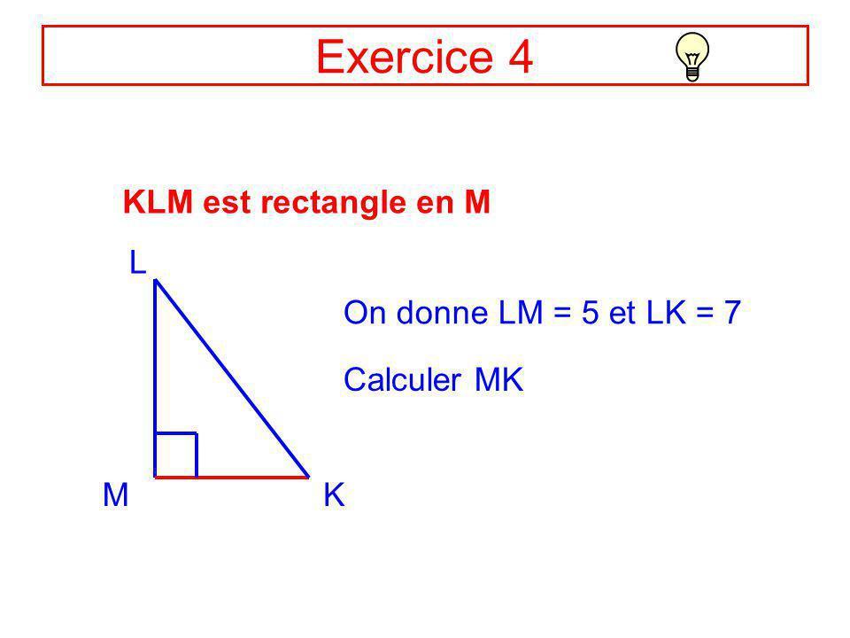 Correction Ex3 DE = 3 et EF = 2 DF ? EF D 2 3 Le triangle DEF est rectangle en E, donc : DF² = ED² + EF² (Théorème de Pythagore) Soit : DF² = 3² + 2²