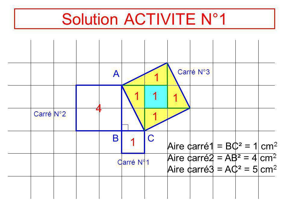 ACTIVITE N°1 A BC Carré N°1 Carré N°2 Carré N°3 Exprimer laire du carré N°1 en fonction de son côté et calculer cette aire. Même question pour le carr
