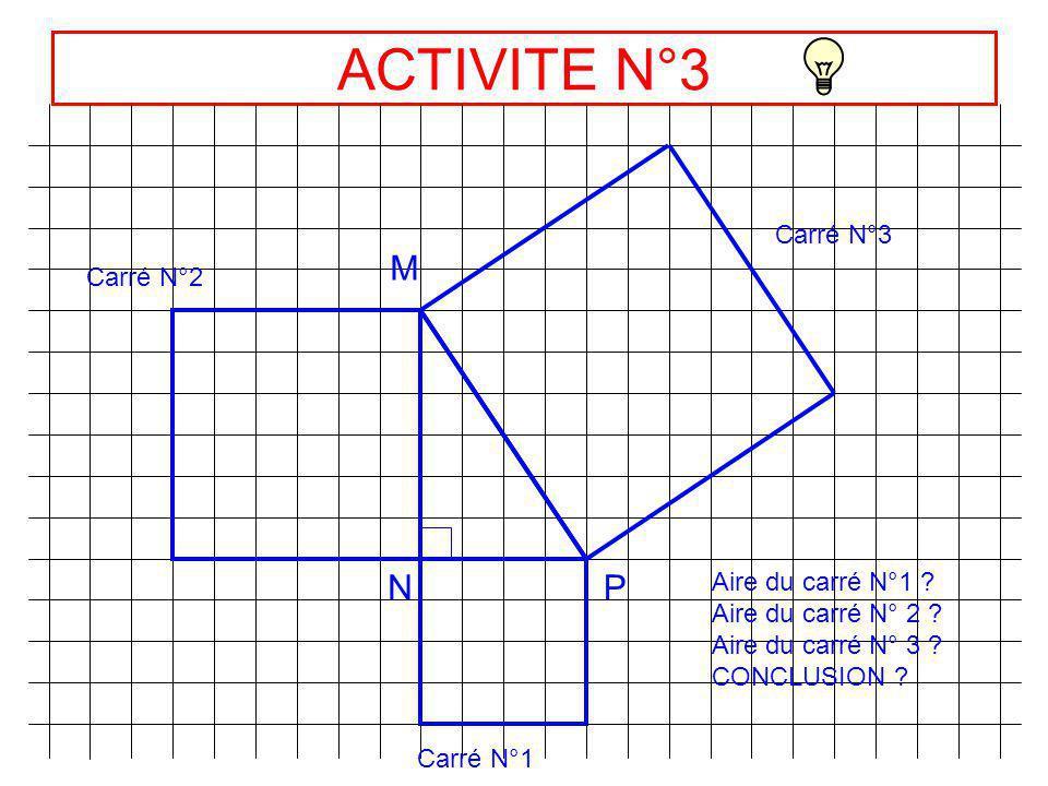 Solution ACTIVITE N°2 E FG Carré N°1 Carré N°2 Carré N°3 25 7,5 9 4 Aire carré1 = FG² = 9 cm 2 Aire carré2 = EF² = 25 cm 2 Aire carré3 = EG² =34 cm 2