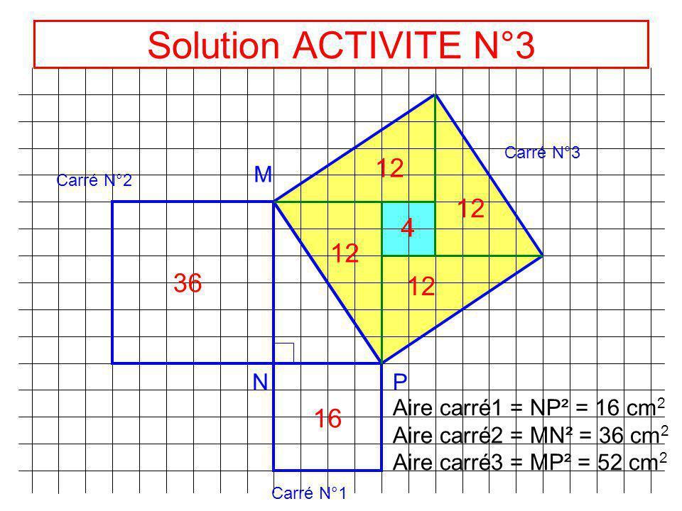 ACTIVITE N°3 M NP Carré N°1 Carré N°2 Carré N°3 Aire du carré N°1 ? Aire du carré N° 2 ? Aire du carré N° 3 ? CONCLUSION ?